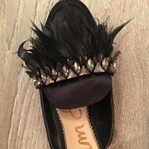 Sam Edelman Shoes - Sam Edelman Black Feather Party Slides